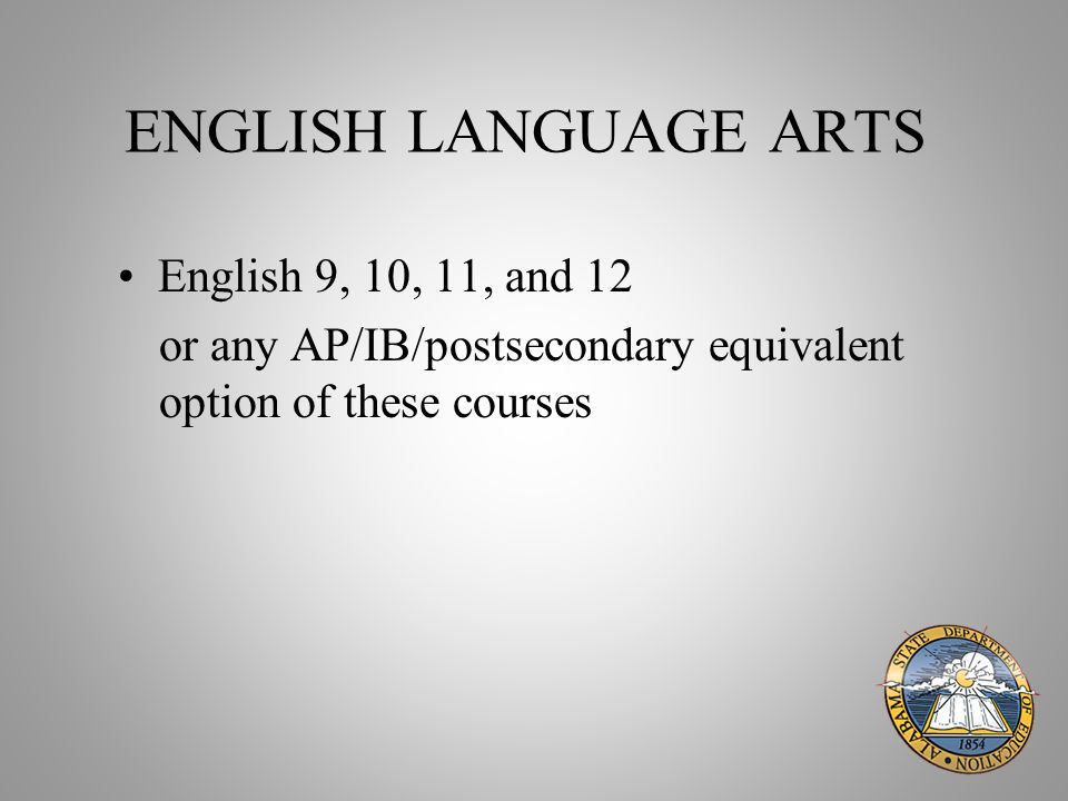 ENGLISH LANGUAGE ARTS English 9, 10, 11, and 12 or any AP/IB/postsecondary equivalent option of these courses