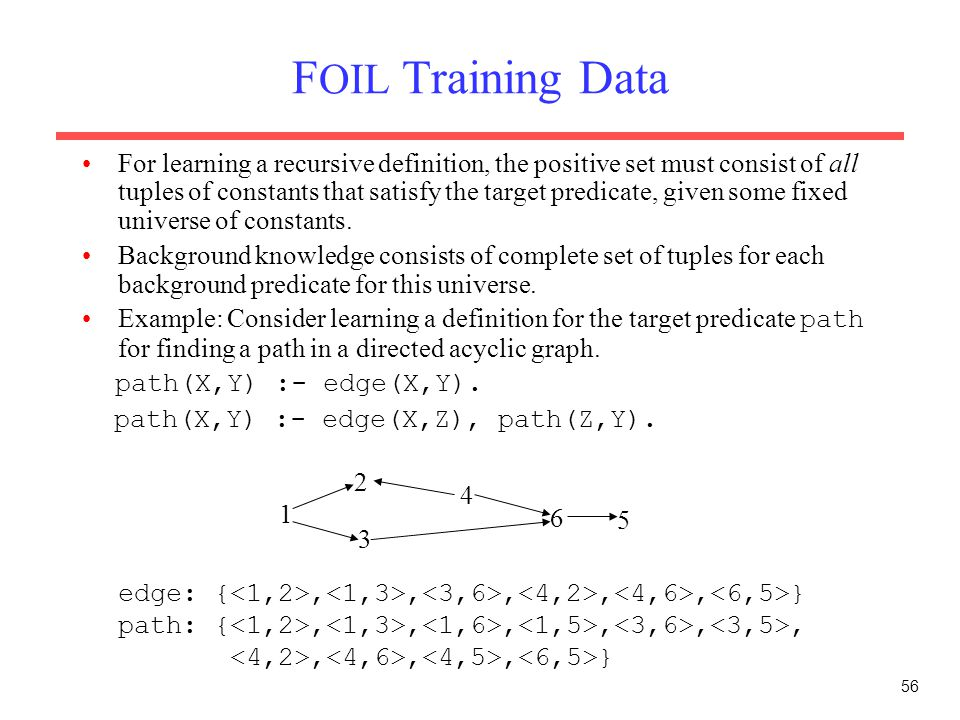 56 F OIL Training Data For learning a recursive definition, the positive set must consist of all tuples of constants that satisfy the target predicate, given some fixed universe of constants.