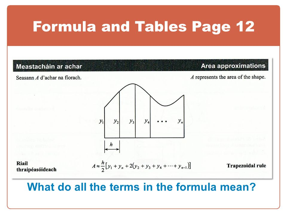Formula and Tables Page 12 What do all the terms in the formula mean
