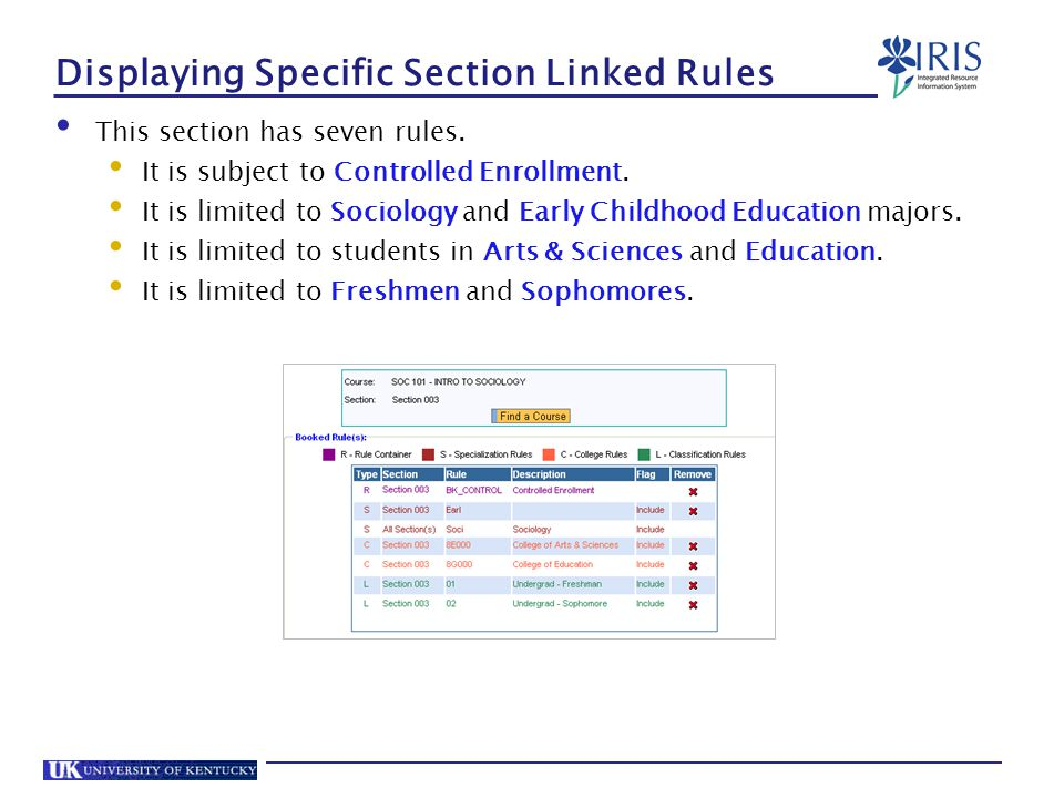 Displaying Specific Section Linked Rules This section has seven rules.