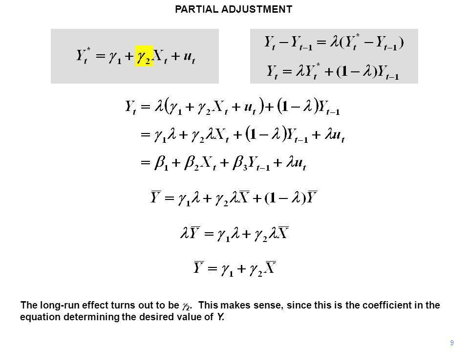 PARTIAL ADJUSTMENT 9 The long-run effect turns out to be  2.