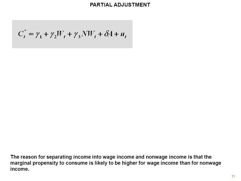 11 PARTIAL ADJUSTMENT The reason for separating income into wage income and nonwage income is that the marginal propensity to consume is likely to be higher for wage income than for nonwage income.