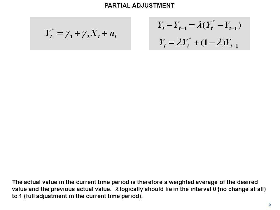 PARTIAL ADJUSTMENT 5 The actual value in the current time period is therefore a weighted average of the desired value and the previous actual value.