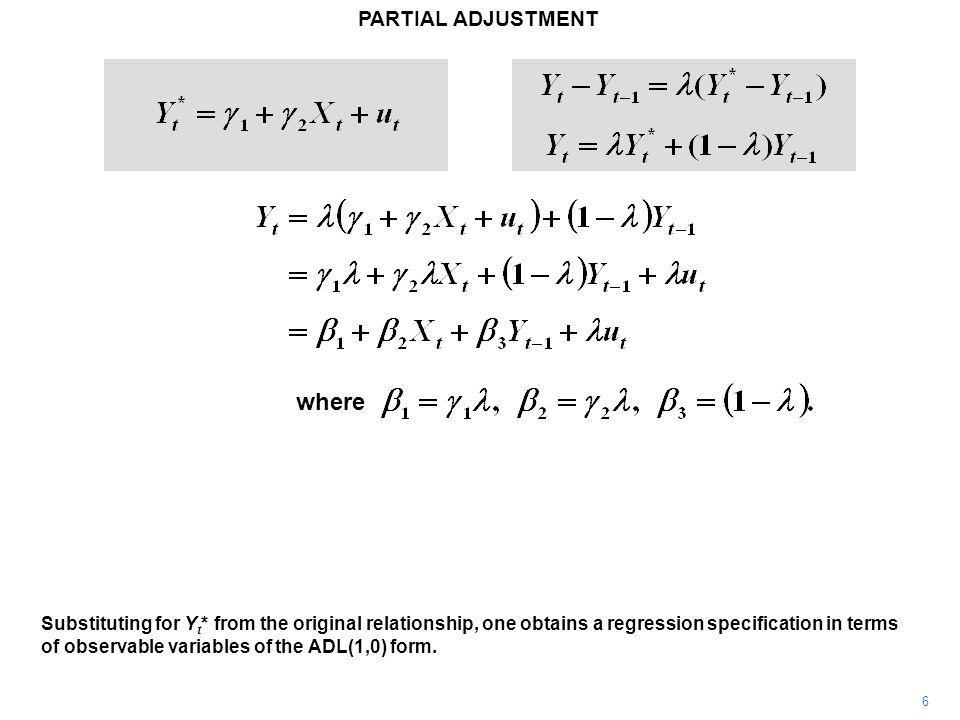 PARTIAL ADJUSTMENT 6 Substituting for Y t * from the original relationship, one obtains a regression specification in terms of observable variables of the ADL(1,0) form.