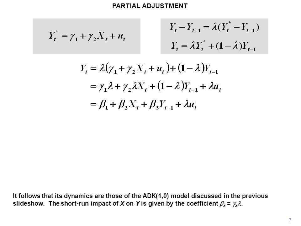PARTIAL ADJUSTMENT 7 It follows that its dynamics are those of the ADK(1,0) model discussed in the previous slideshow.