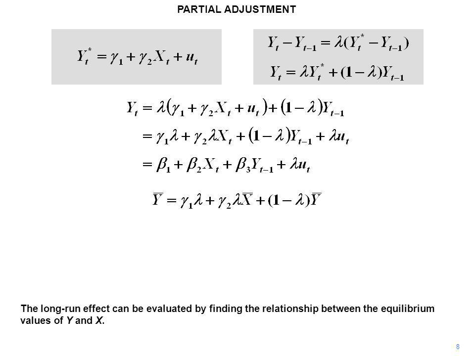 PARTIAL ADJUSTMENT 8 The long-run effect can be evaluated by finding the relationship between the equilibrium values of Y and X.