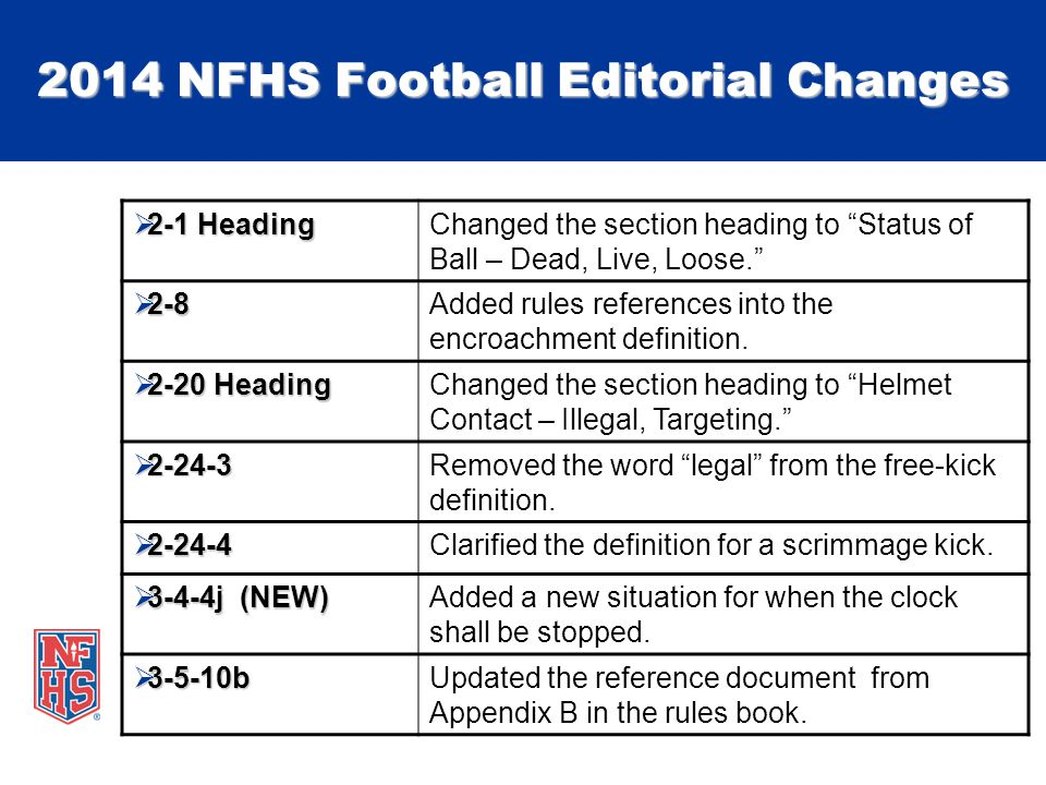 2014 NFHS Football Editorial Changes  2-1 Heading Changed the section heading to Status of Ball – Dead, Live, Loose.  2-8 Added rules references into the encroachment definition.