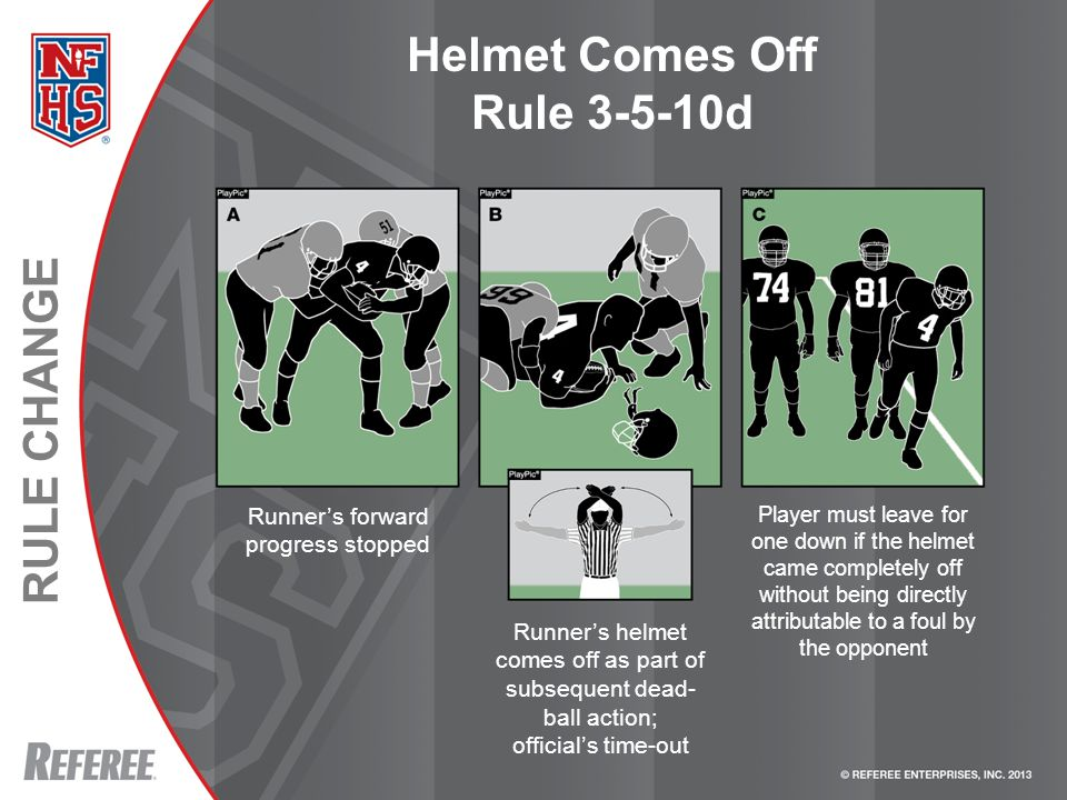 RULE CHANGE Helmet Comes Off Rule 3-5-10d Runner's forward progress stopped Player must leave for one down if the helmet came completely off without being directly attributable to a foul by the opponent Runner's helmet comes off as part of subsequent dead- ball action; official's time-out
