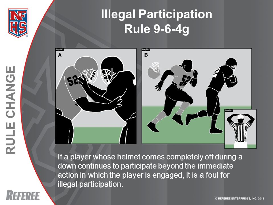 RULE CHANGE Illegal Participation Rule 9-6-4g If a player whose helmet comes completely off during a down continues to participate beyond the immediate action in which the player is engaged, it is a foul for illegal participation.