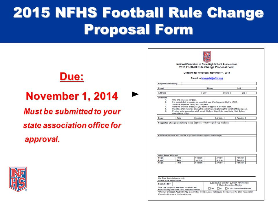 Due: November 1, 2014 Must be submitted to your state association office for approval.