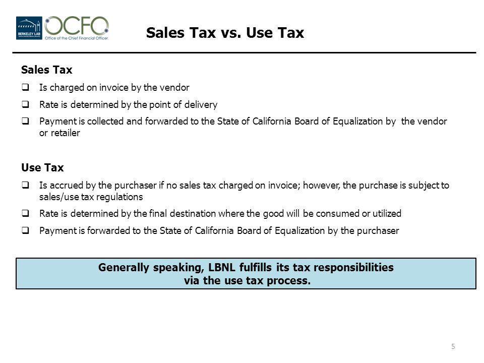 Lawrence Berkeley National Laboratory Sales & Use Tax