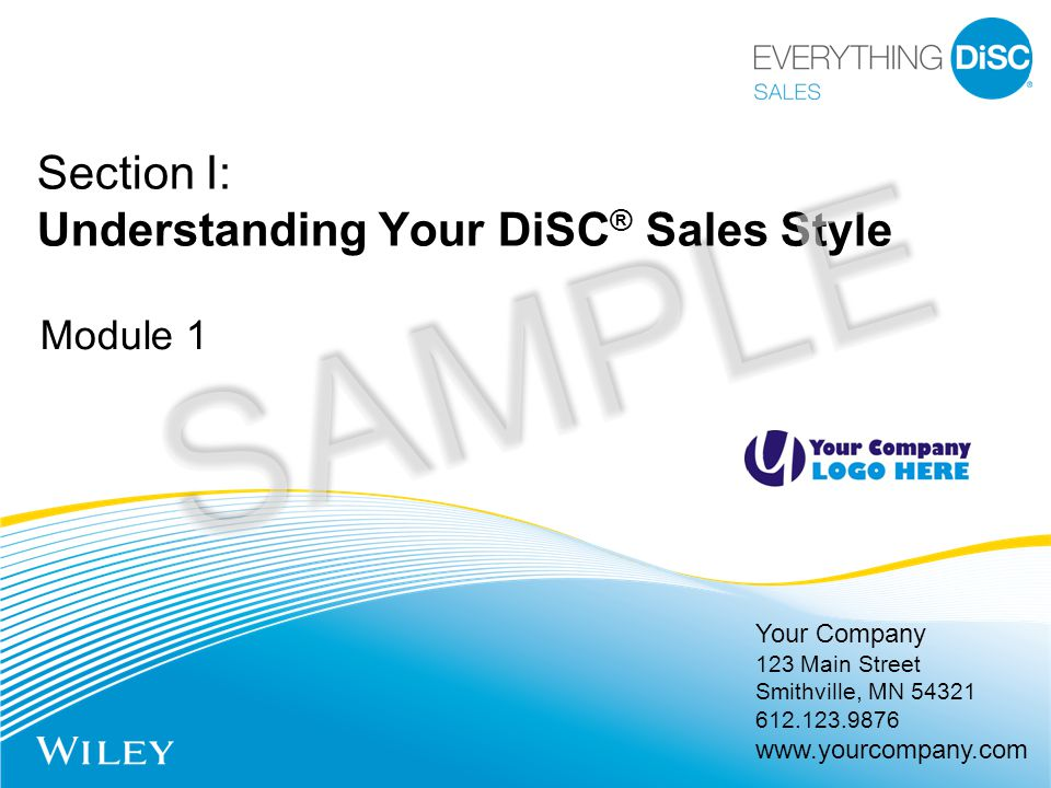 Your Company 123 Main Street Smithville, MN 54321 612.123.9876 www.yourcompany.com Section I: Understanding Your DiSC ® Sales Style Module 1 SAMPLE
