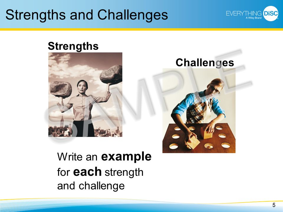 5 Strengths and Challenges Write an example for each strength and challenge Strengths Challenges SAMPLE
