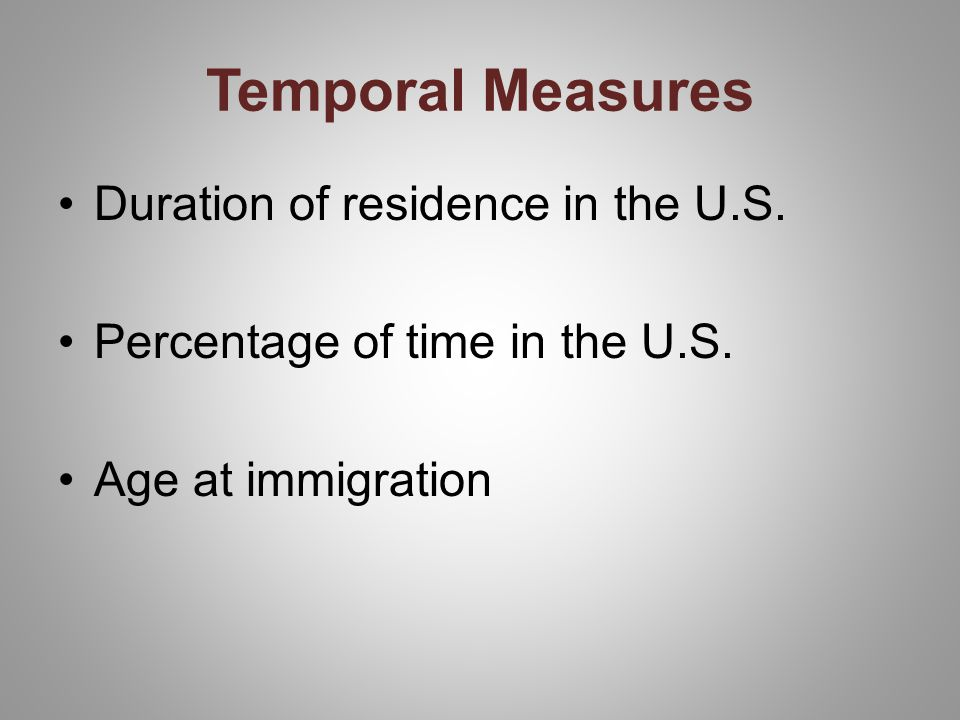 Temporal Measures Duration of residence in the U.S.