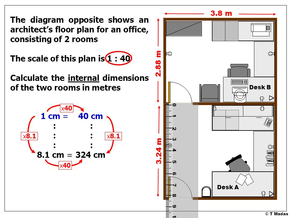 © T Madas The diagram opposite shows an architect's floor plan for an office, consisting of 2 rooms The scale of this plan is 1 : 40 Calculate the internal dimensions of the two rooms in metres 0 1 2 3 4 5 6 7 8 9 10 11 12 13 14 15 16 17 18 19 20 21 22 23 3.8 m 1 cm = :::::: 8.1 cm = 40 cm :::::: 324 cm x8.1 2.88 m 3.24 m x40