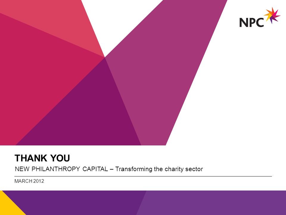 X AXIS LOWER LIMIT UPPER LIMIT CHART TOP Y AXIS LIMIT v THANK YOU NEW PHILANTHROPY CAPITAL – Transforming the charity sector MARCH 2012 NPC - title of the document (can be changed under view/header and footer.