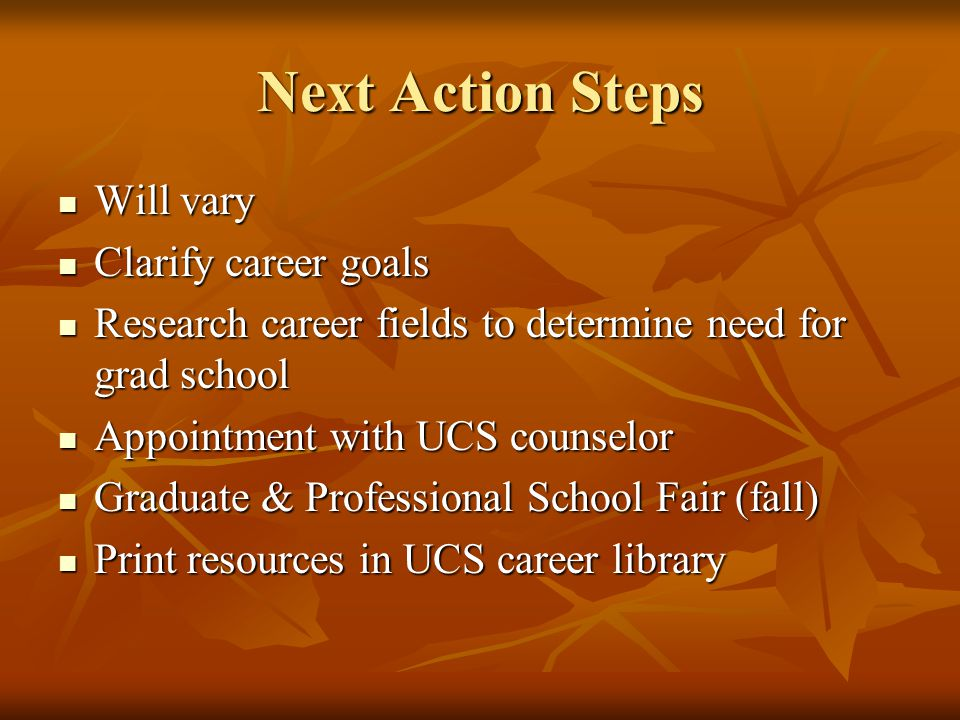 Next Action Steps Will vary Will vary Clarify career goals Clarify career goals Research career fields to determine need for grad school Research career fields to determine need for grad school Appointment with UCS counselor Appointment with UCS counselor Graduate & Professional School Fair (fall) Graduate & Professional School Fair (fall) Print resources in UCS career library Print resources in UCS career library