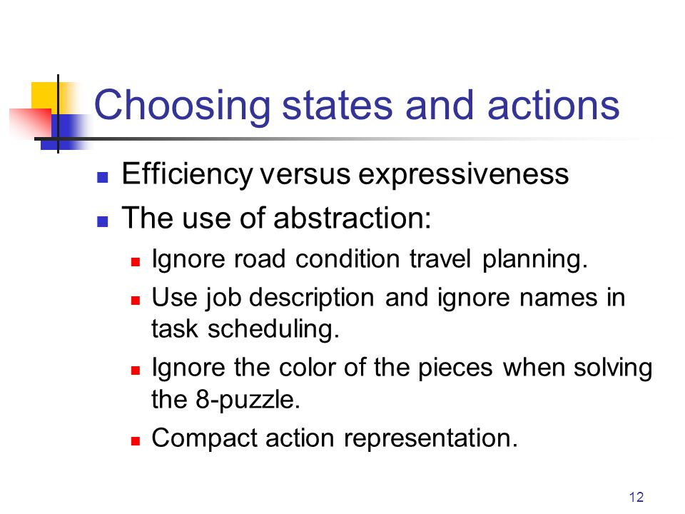 12 Choosing states and actions Efficiency versus expressiveness The use of abstraction: Ignore road condition travel planning.