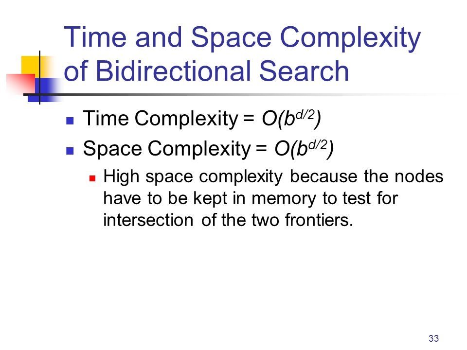 33 Time and Space Complexity of Bidirectional Search Time Complexity = O(b d/2 ) Space Complexity = O(b d/2 ) High space complexity because the nodes have to be kept in memory to test for intersection of the two frontiers.
