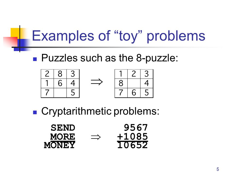 5 Examples of toy problems Puzzles such as the 8-puzzle:  Cryptarithmetic problems: SEND 9567 MORE  +1085 MONEY10652