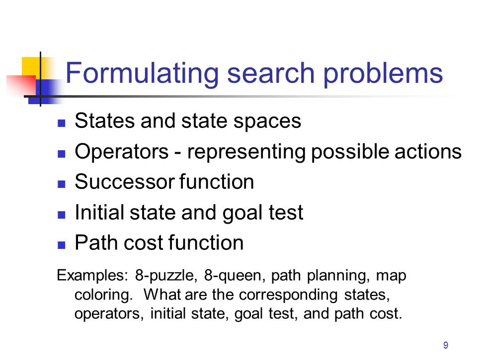 9 Formulating search problems States and state spaces Operators - representing possible actions Successor function Initial state and goal test Path cost function Examples: 8-puzzle, 8-queen, path planning, map coloring.