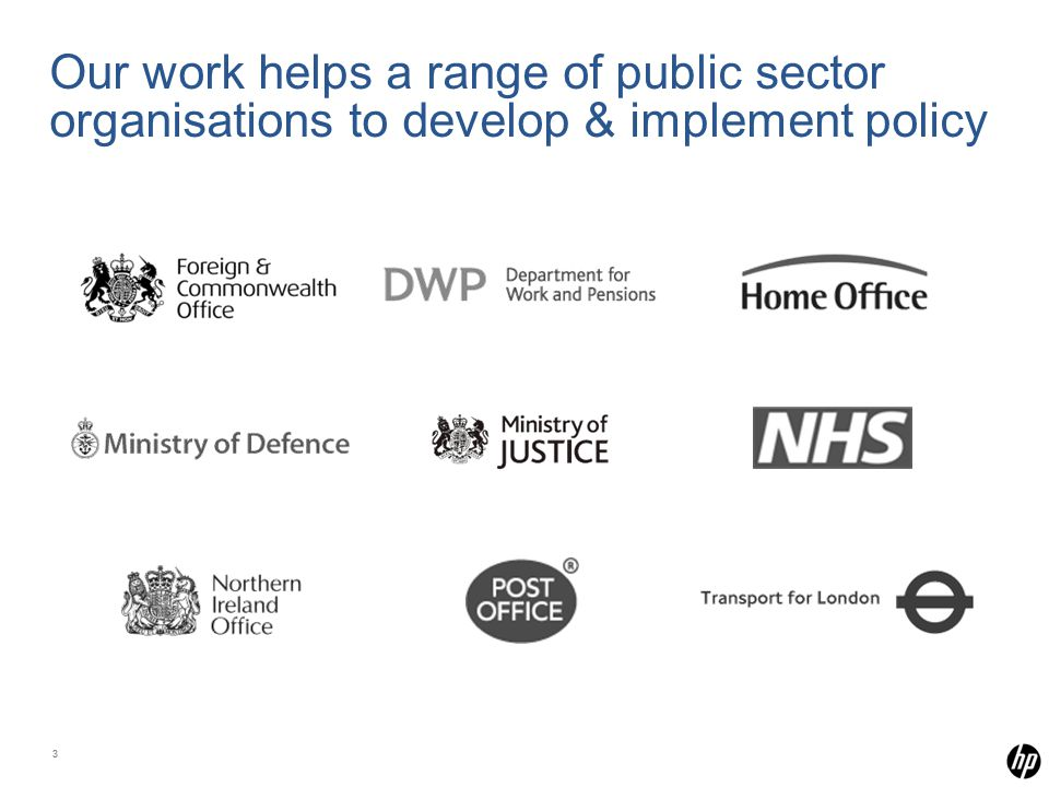 33 Our work helps a range of public sector organisations to develop & implement policy