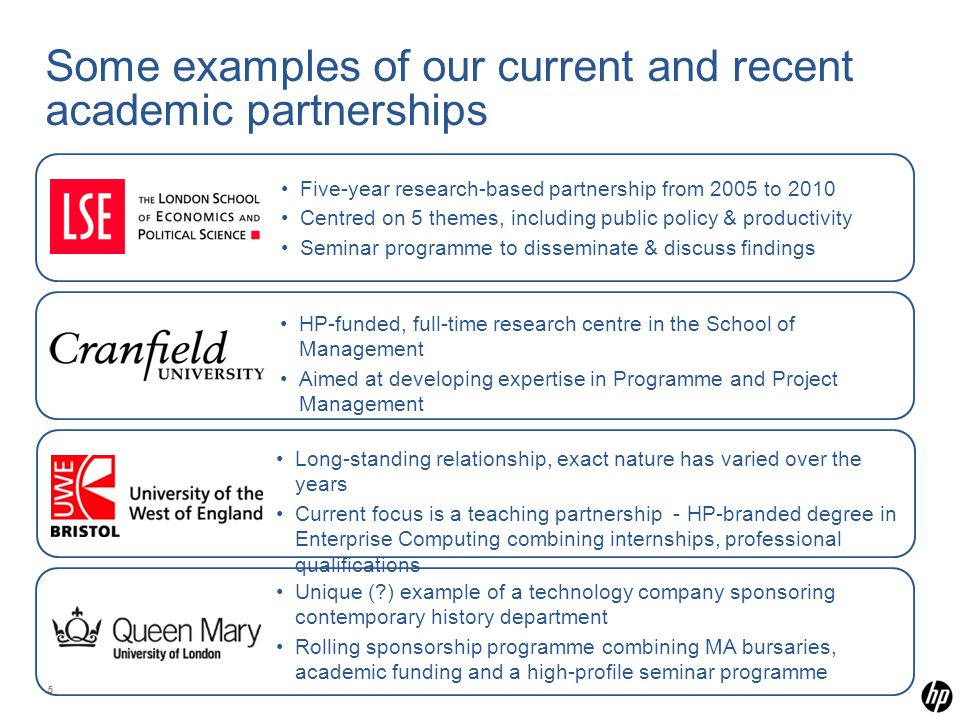 55 Some examples of our current and recent academic partnerships Five-year research-based partnership from 2005 to 2010 Centred on 5 themes, including public policy & productivity Seminar programme to disseminate & discuss findings HP-funded, full-time research centre in the School of Management Aimed at developing expertise in Programme and Project Management Long-standing relationship, exact nature has varied over the years Current focus is a teaching partnership - HP-branded degree in Enterprise Computing combining internships, professional qualifications Unique ( ) example of a technology company sponsoring contemporary history department Rolling sponsorship programme combining MA bursaries, academic funding and a high-profile seminar programme