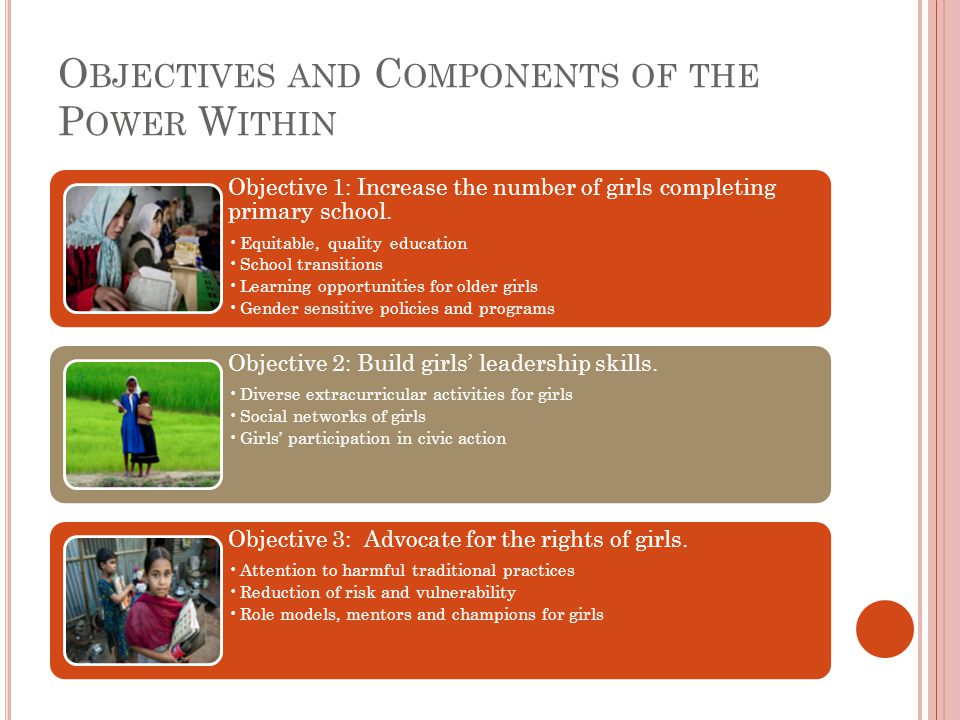 O BJECTIVES AND C OMPONENTS OF THE P OWER W ITHIN Objective 1: Increase the number of girls completing primary school.