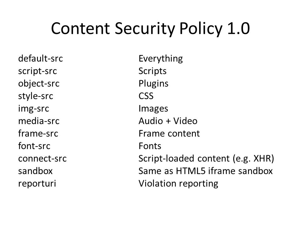 Content Security Policy 1.0 default-src Everything script-srcScripts object-srcPlugins style-srcCSS img-srcImages media-srcAudio + Video frame-srcFrame content font-srcFonts connect-srcScript-loaded content (e.g.