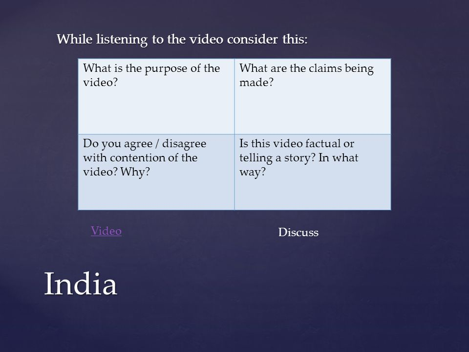 While listening to the video consider this: India What is the purpose of the video.