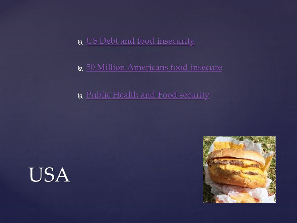  50 Million Americans food insecure 50 Million Americans food insecure 50 Million Americans food insecureUSA  US Debt and food insecurity US Debt and food insecurity US Debt and food insecurity  Public Health and Food security Public Health and Food security Public Health and Food security