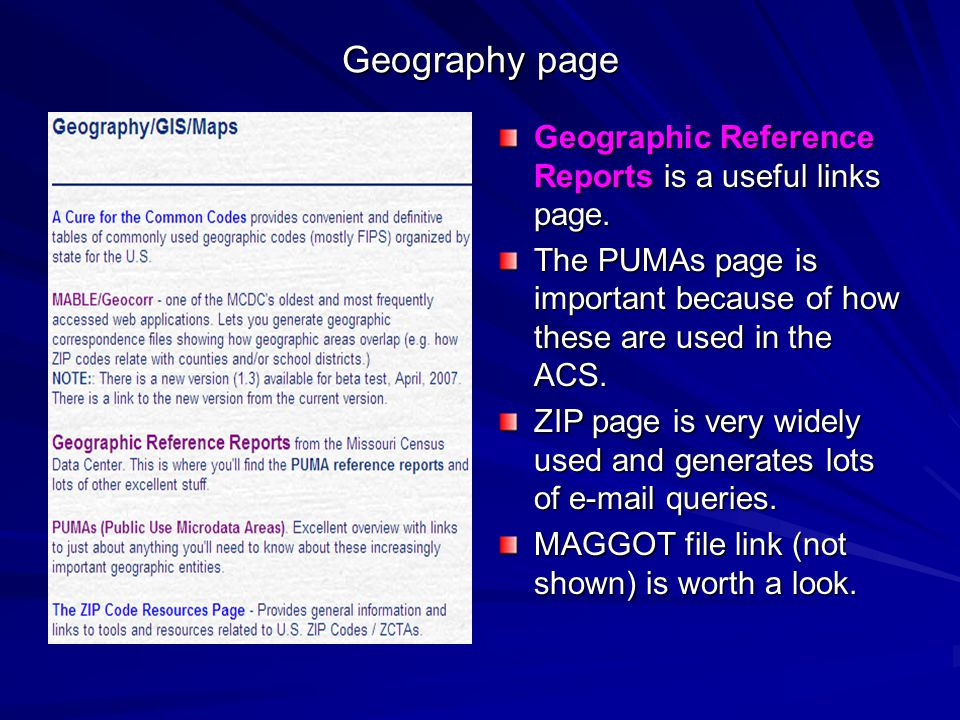 Geography page Geographic Reference Reports is a useful links page.