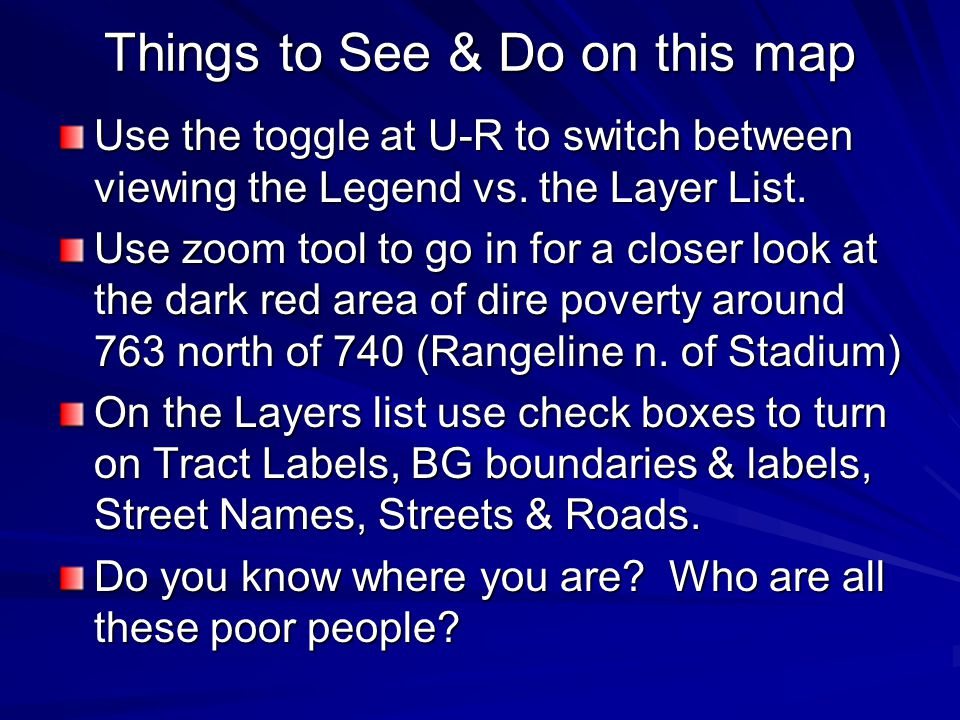 Things to See & Do on this map Use the toggle at U-R to switch between viewing the Legend vs.