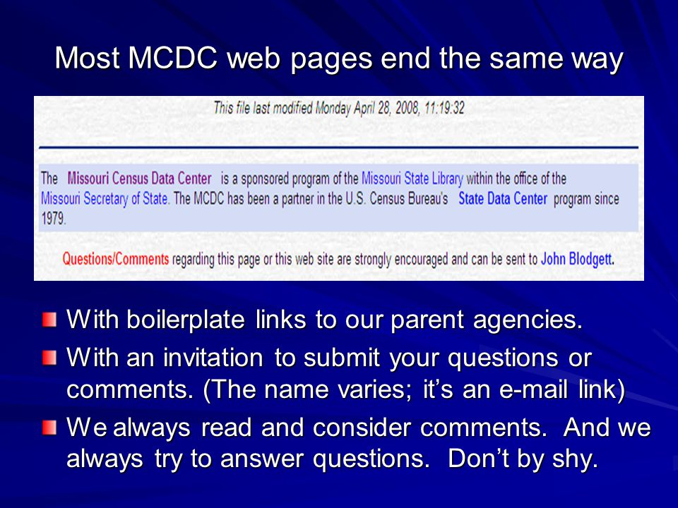 Most MCDC web pages end the same way With boilerplate links to our parent agencies.