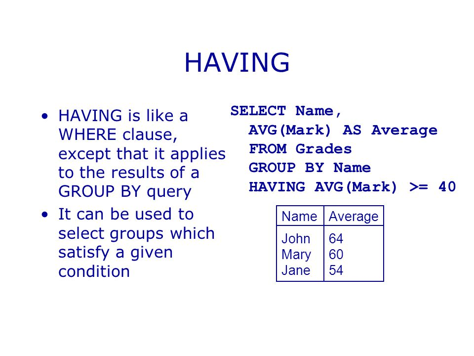 HAVING HAVING is like a WHERE clause, except that it applies to the results of a GROUP BY query It can be used to select groups which satisfy a given condition SELECT Name, AVG(Mark) AS Average FROM Grades GROUP BY Name HAVING AVG(Mark) >= 40 NameAverage John64 Mary60 Jane54