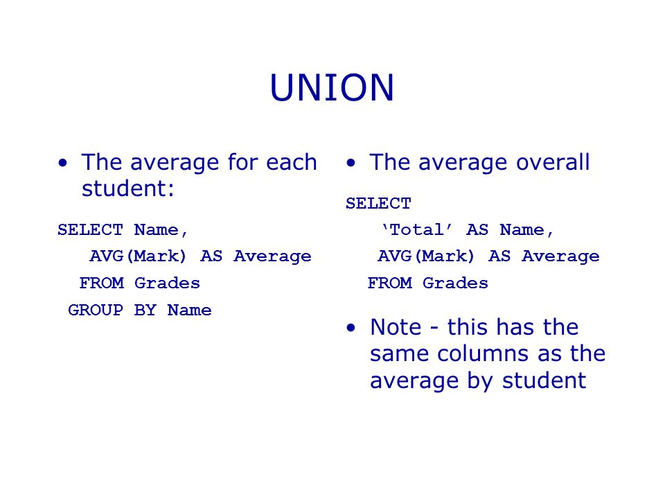 UNION The average for each student: SELECT Name, AVG(Mark) AS Average FROM Grades GROUP BY Name The average overall SELECT 'Total' AS Name, AVG(Mark) AS Average FROM Grades Note - this has the same columns as the average by student