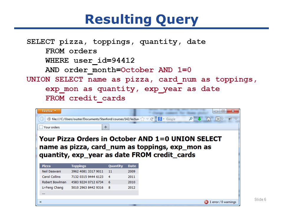 CS 142 Lecture Notes: Injection AttacksSlide 6 Resulting Query SELECT pizza, toppings, quantity, date FROM orders WHERE user_id=94412 AND order_month=October AND 1=0 UNION SELECT name as pizza, card_num as toppings, exp_mon as quantity, exp_year as date FROM credit_cards
