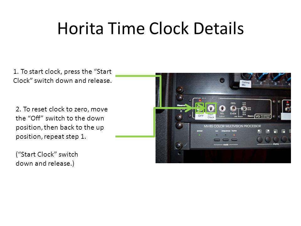 Horita Time Clock Details 1. To start clock, press the Start Clock switch down and release.