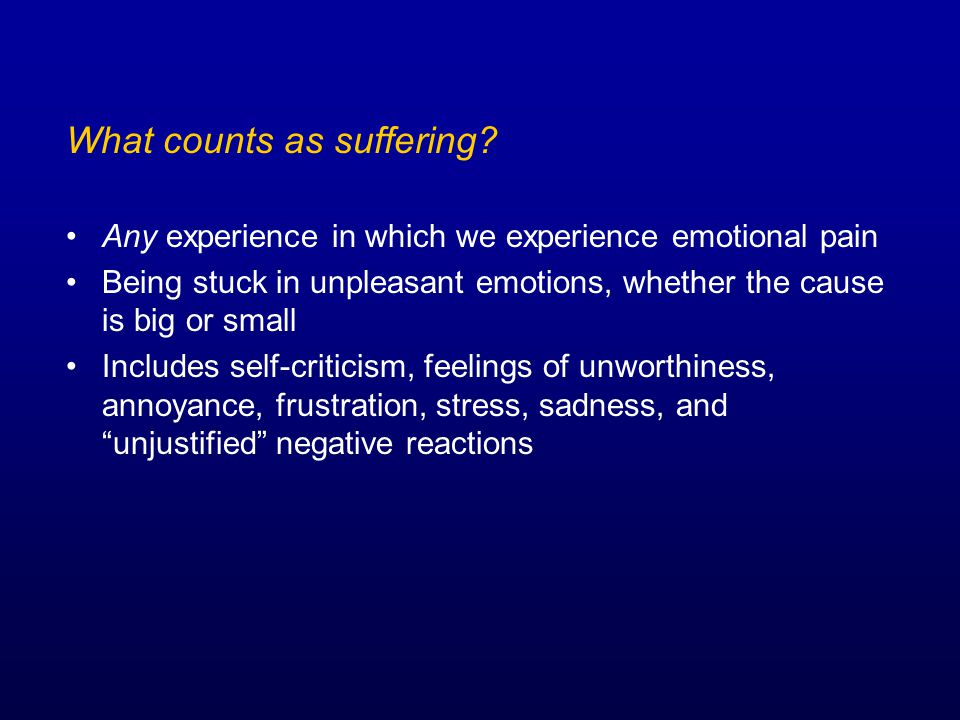 What counts as suffering.