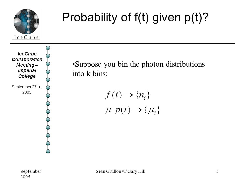 IceCube Collaboration Meeting – Imperial College September 27th, 2005 September 2005 Sean Grullon w/ Gary Hill5 Probability of f(t) given p(t).