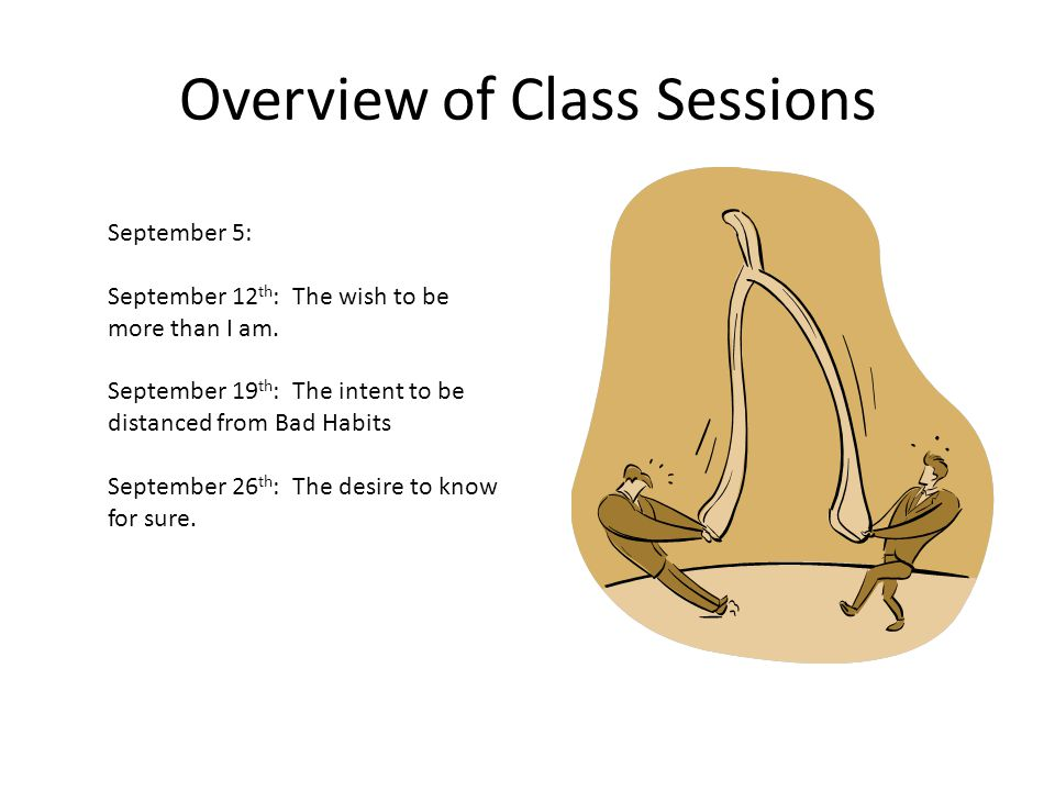 Overview of Class Sessions September 5: September 12 th : The wish to be more than I am.