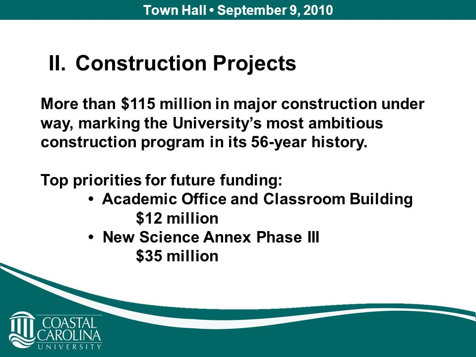 Town Hall September 9, 2010 II.Construction Projects More than $115 million in major construction under way, marking the University's most ambitious construction program in its 56-year history.