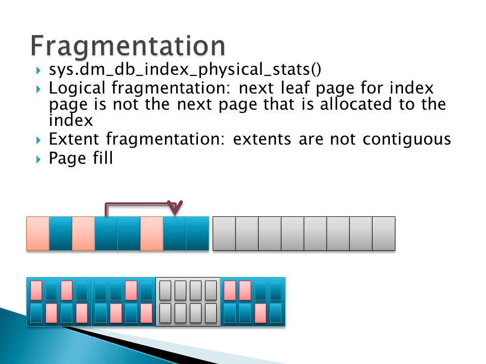  sys.dm_db_index_physical_stats()  Logical fragmentation: next leaf page for index page is not the next page that is allocated to the index  Extent fragmentation: extents are not contiguous  Page fill