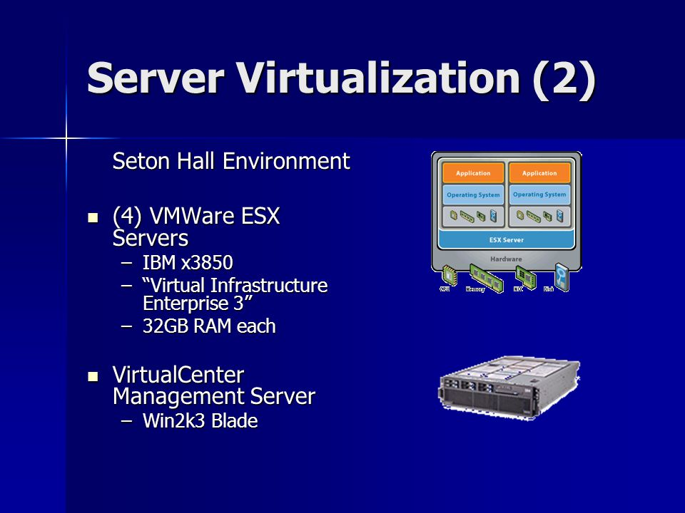 Server Virtualization (2) Seton Hall Environment (4) VMWare ESX Servers (4) VMWare ESX Servers –IBM x3850 – Virtual Infrastructure Enterprise 3 –32GB RAM each VirtualCenter Management Server VirtualCenter Management Server –Win2k3 Blade