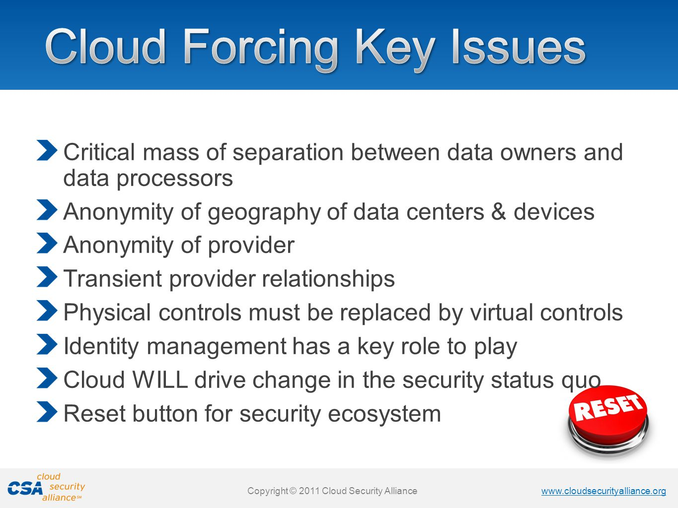 www.cloudsecurityalliance.org Copyright © 2011 Cloud Security Alliance www.cloudsecurityalliance.org Copyright © 2011 Cloud Security Alliance Critical mass of separation between data owners and data processors Anonymity of geography of data centers & devices Anonymity of provider Transient provider relationships Physical controls must be replaced by virtual controls Identity management has a key role to play Cloud WILL drive change in the security status quo Reset button for security ecosystem