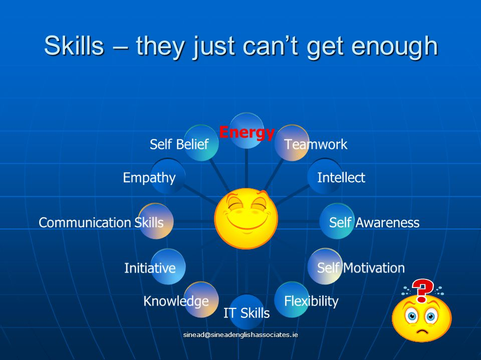 sinead@sineadenglishassociates.ie Skills – they just can't get enough YOU Energy Teamwork IntellectSelf AwarenessSelf MotivationFlexibilityIT SkillsKnowledgeInitiative Communication Skills Empathy Self Belief