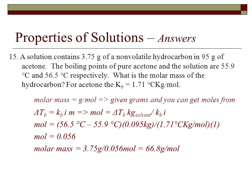 Properties of Solutions – Answers 15.