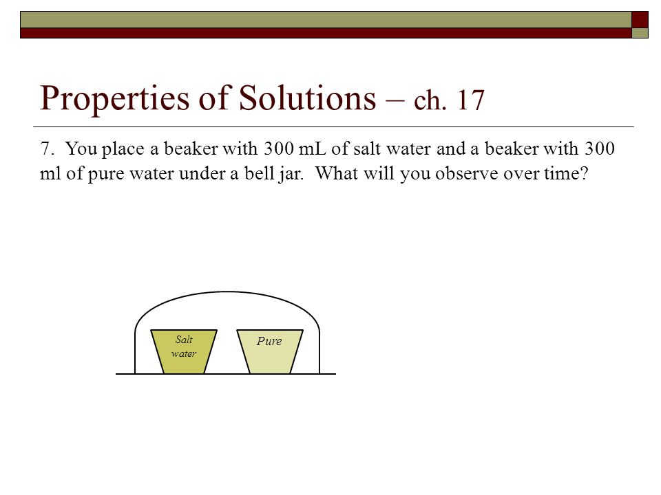 Properties of Solutions – ch. 17 7.