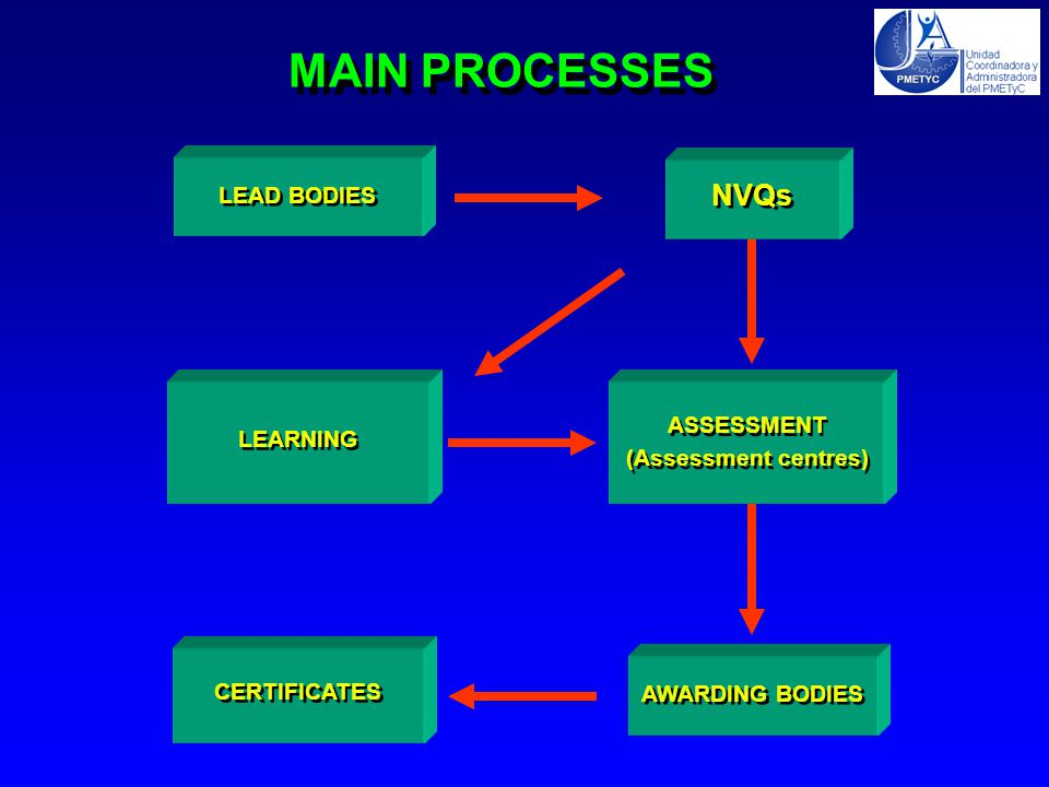 MAIN PROCESSES NVQs ASSESSMENT (Assessment centres) ASSESSMENT (Assessment centres) LEARNING CERTIFICATES LEAD BODIES AWARDING BODIES